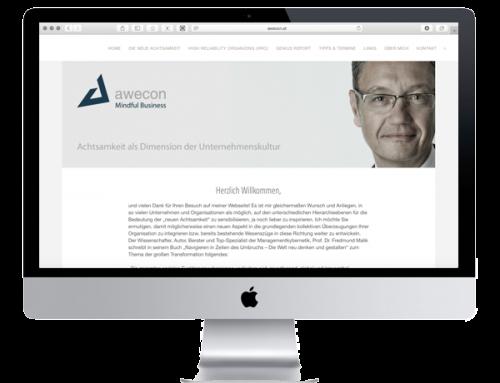 Website für das Wiener Unternehmen Awecon – younique & common sweetspots